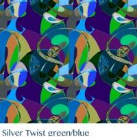 Silver Twist  green blue fabric